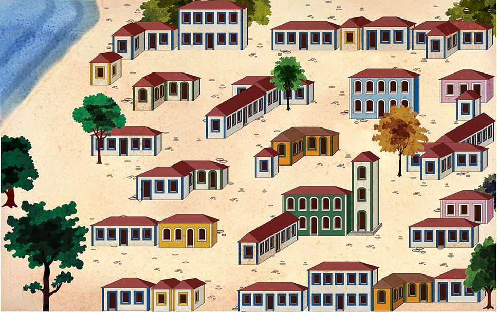 Vista panorâmica da cidade fictícia onde é ambientada  parte da história. Os elementos remetem à arquitetura  colonial de diferentes localidades brasileiras.